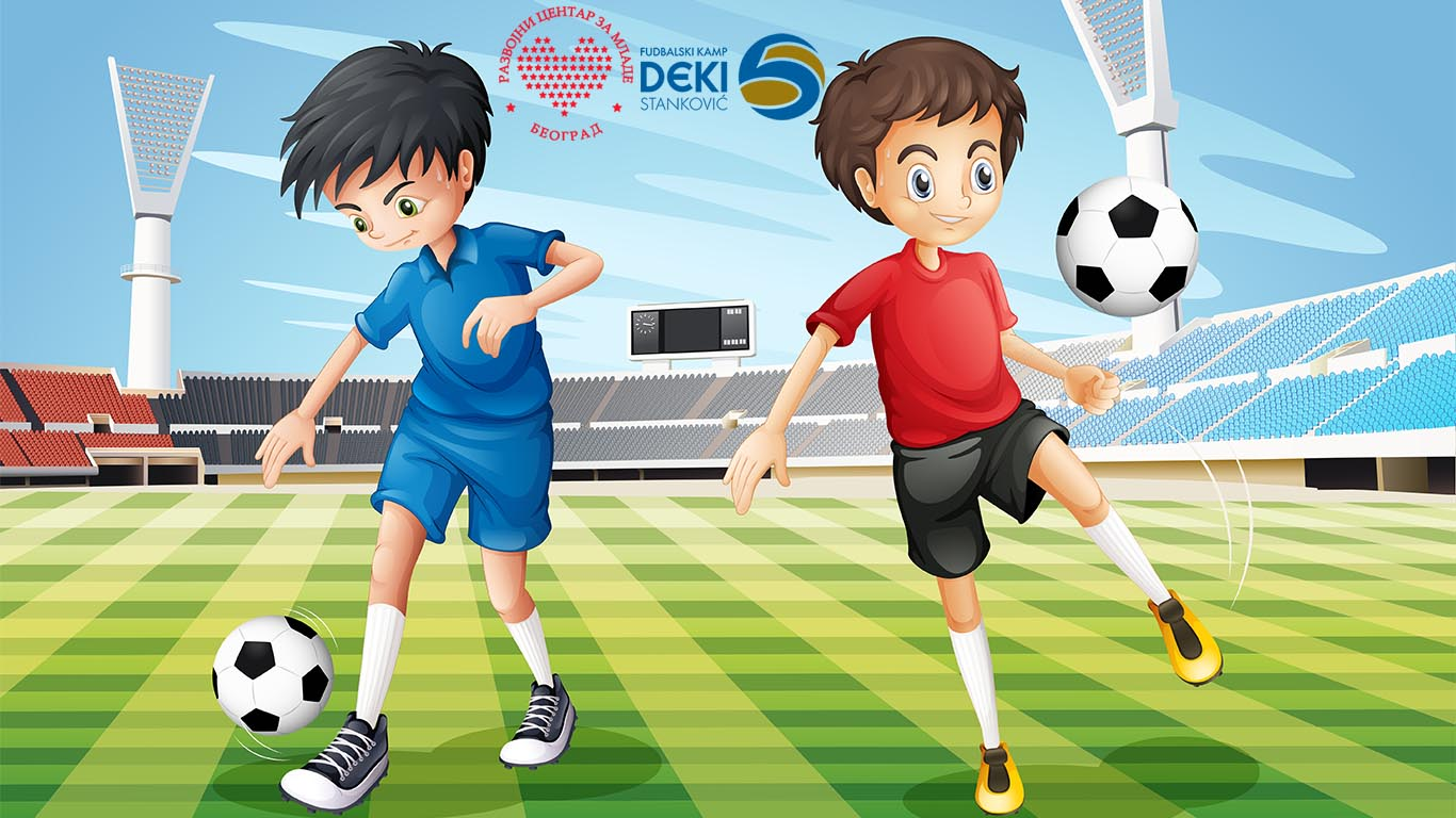 Boys Playing Soccer In The Field Illustration