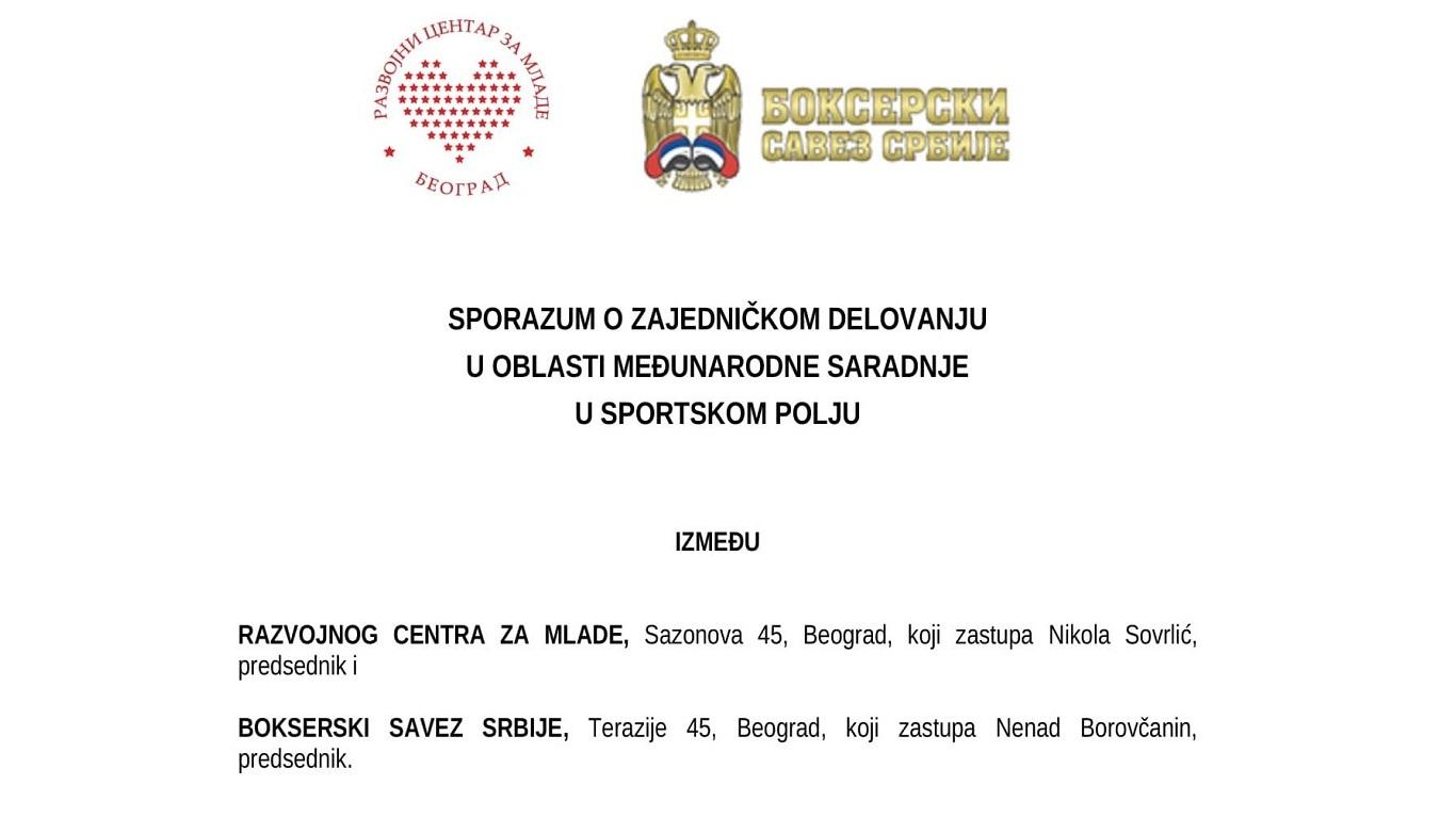 Razvojni Centar Za Mlade Sporazum Bokserski Savez Srbije Saradnja 1